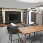 vue 3D salon et meuble télé
