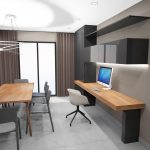 vue 3D bureau et salle à manger
